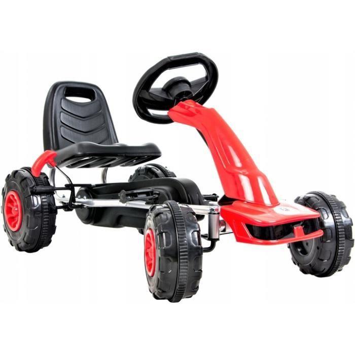 HyperMotion Go Kart à Pédales Voiture à Pédales Enfant 3 à 6 ans Frein à Main 2 Modes de Conduite Avant & Arrière - Rouge