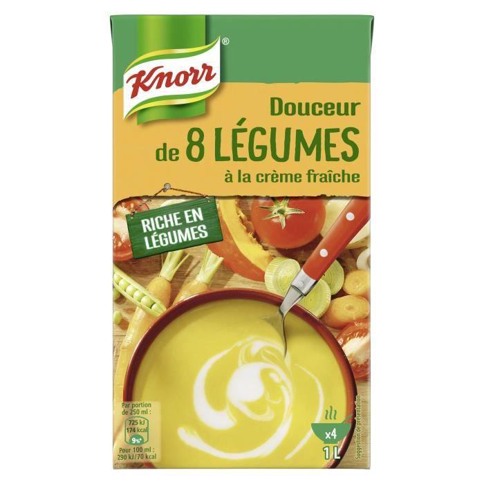 KNORR Soupe Liquide Douceur de 8 Légumes à la crème fraîche - 1 l