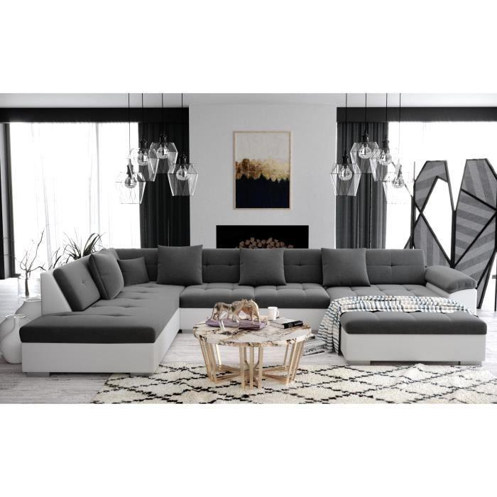 ATIS - Canapé d'angle panoramique XXL en U - en Tissu et simili cuir - Gauche gris et blanc