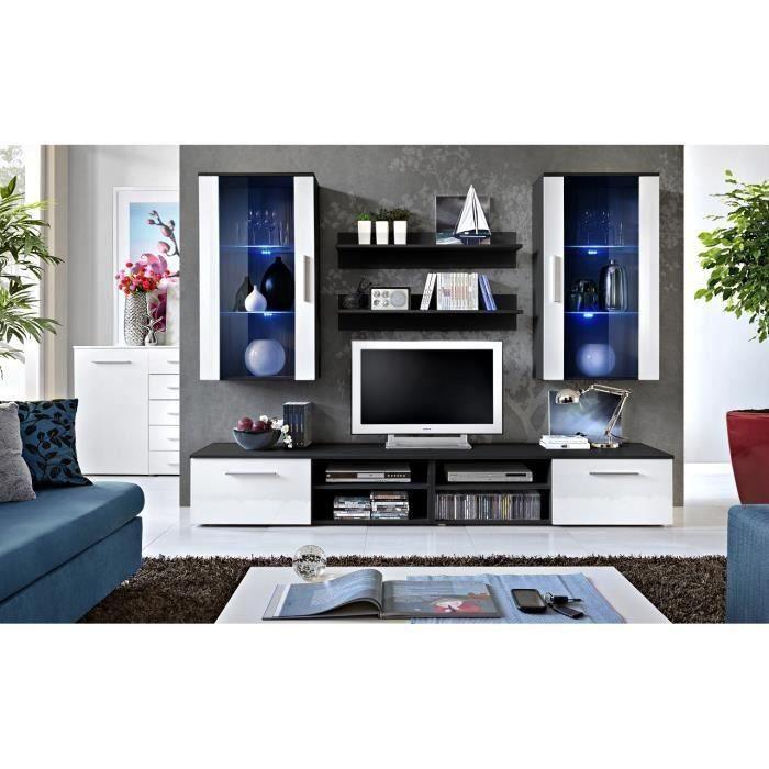Ensemble meuble salon GALINO G design, coloris noir et blanc. Meuble moderne et tendance pour votre salon. 37 Blanc