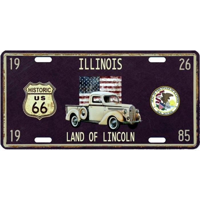 Plaque en métal 15 X 30 cm Parcours de la mythique Route 66 : Illinois
