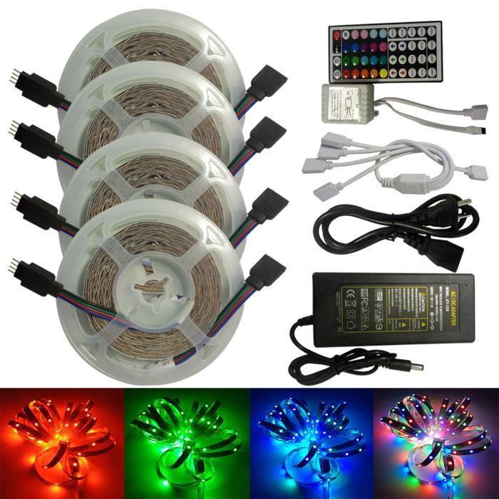 Bande Ruban lumineux LED RGB Lumière de câble USB Barre lumineuse décorative flexible avec télécommande -20m-1200LED