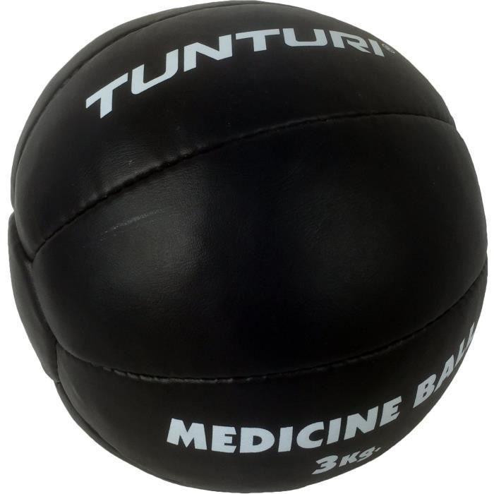 TUNTURI Balle de médecine / Ballon médicinal / Medicine ball en cuir 2kg noir