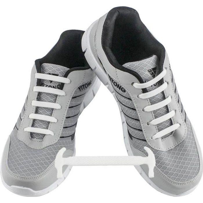 WELKOO® Lacets Elastique en Silicone Sans Lacage Etanche pour Chaussure Adults -12pcs Couleur blanc