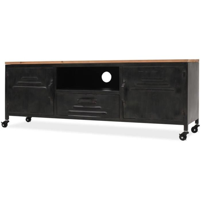 Meuble TV Style industriel moderne acier galvanisé + dessus de table en bois de sapin solide120 x 30 x 43 cm Noir