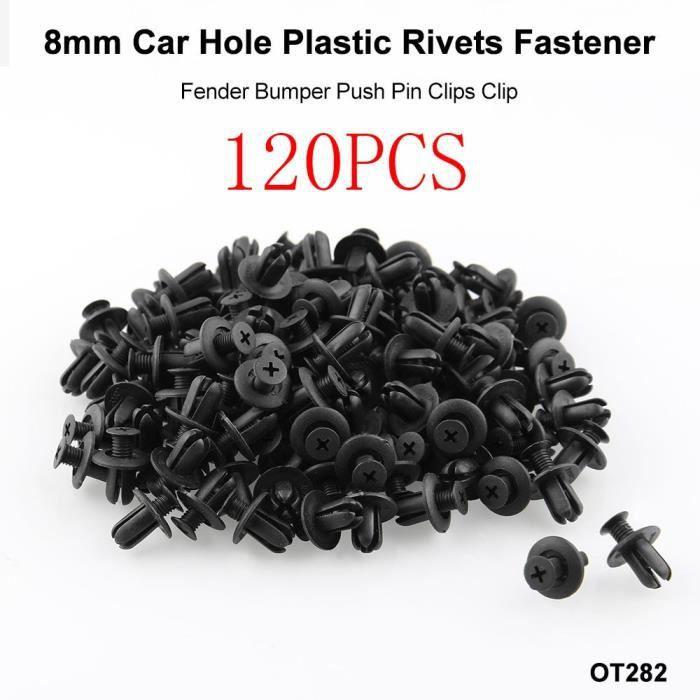 sourcing map 8mm Diam/ètre Trou Fixation agrafes Plastique Porte Auto Voiture Rivets Expansion Noir 20 Pcs