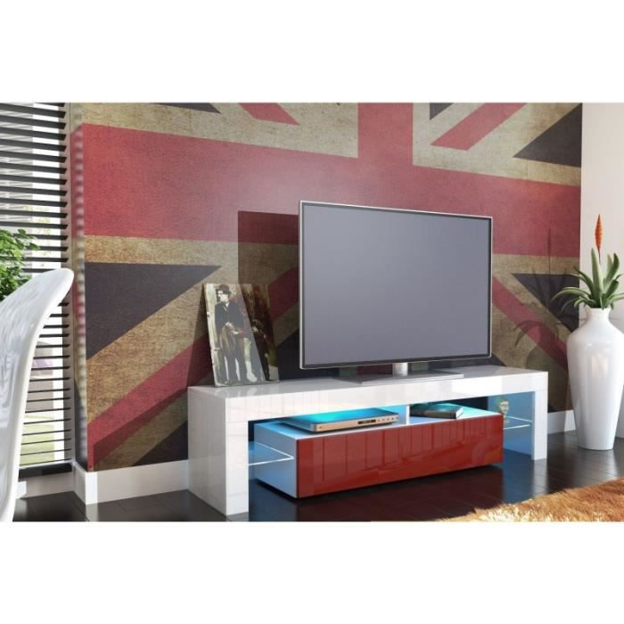 meuble tv design laqu blanc et bordeaux oui blanc bordeaux achat vente meuble tv. Black Bedroom Furniture Sets. Home Design Ideas