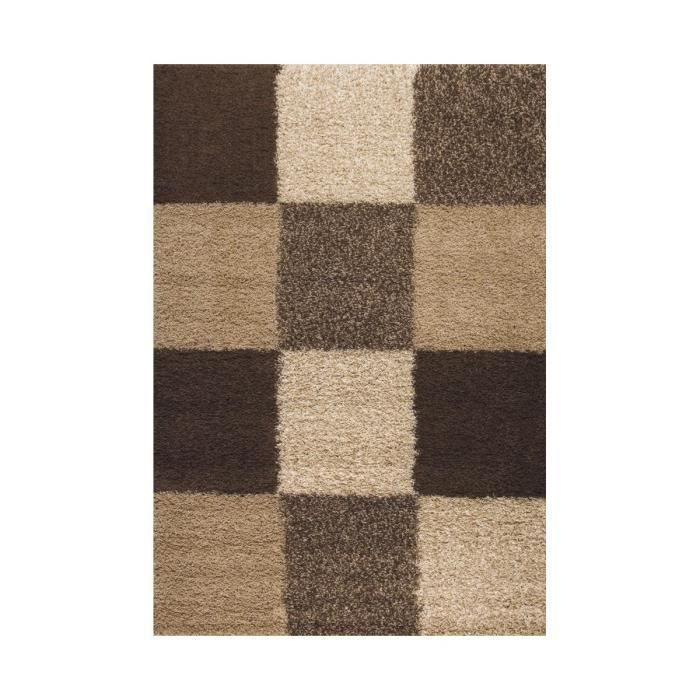 allotapis tapis en damier shaggy beige deauville 200x290cm beige achat vente tapis. Black Bedroom Furniture Sets. Home Design Ideas