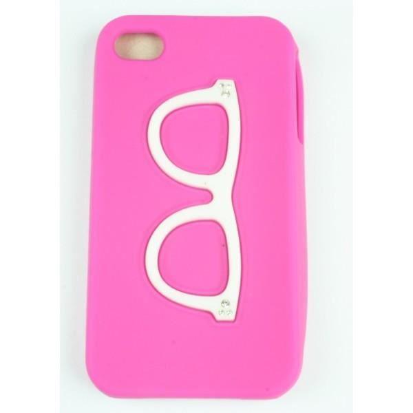 Coque Iphone 4/ 4S Rose Fushia Lunette Silicone
