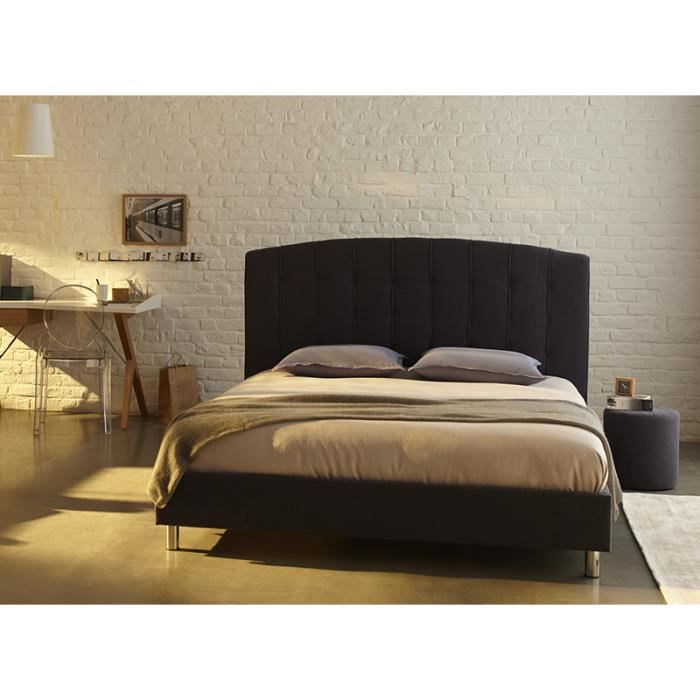 lit adulte pas cher luta anthracite 160x200 cm livr avec. Black Bedroom Furniture Sets. Home Design Ideas