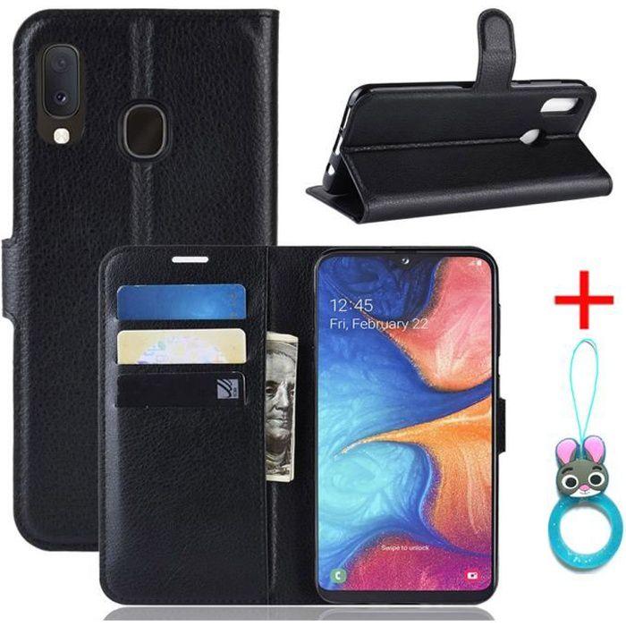 Coque Samsung Galaxy A20e Noir en PU Cuir avec pro