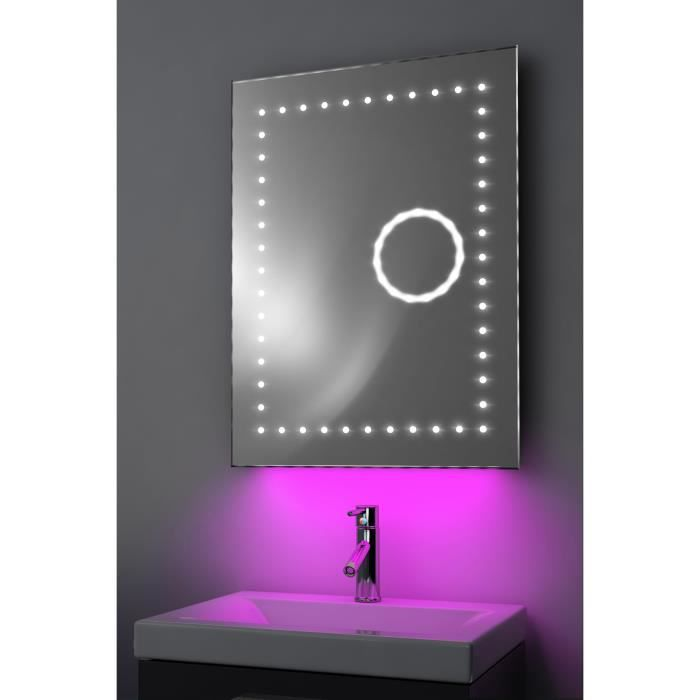 miroir toilette horloge r tro clairage bluetooth anti bu e capteur k101paud rose taille l. Black Bedroom Furniture Sets. Home Design Ideas