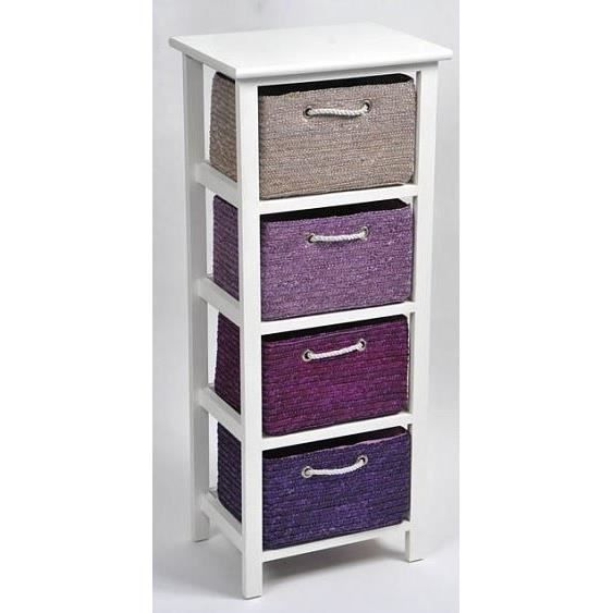meuble bas bois 4 paniers paille aubergine gris achat vente meuble bas commode sdb meuble. Black Bedroom Furniture Sets. Home Design Ideas