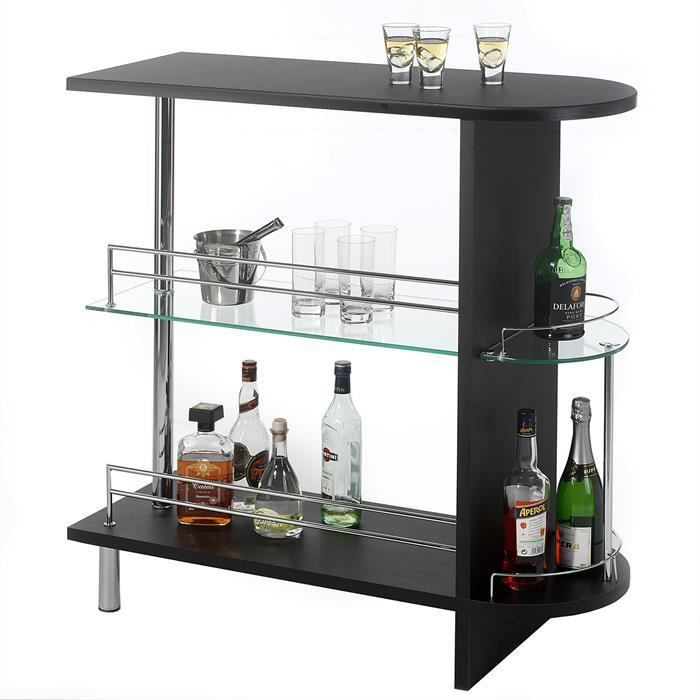 Table haute de bar james mdf d cor noir achat vente for Achat table bar