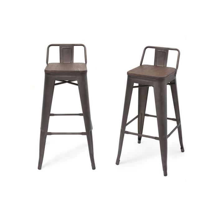 tabouret de bar industriel effet inox vieilli lot de 2 usino achat vente tabouret de bar. Black Bedroom Furniture Sets. Home Design Ideas
