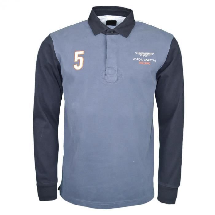 Polo rugby manches longues Hackett gris et