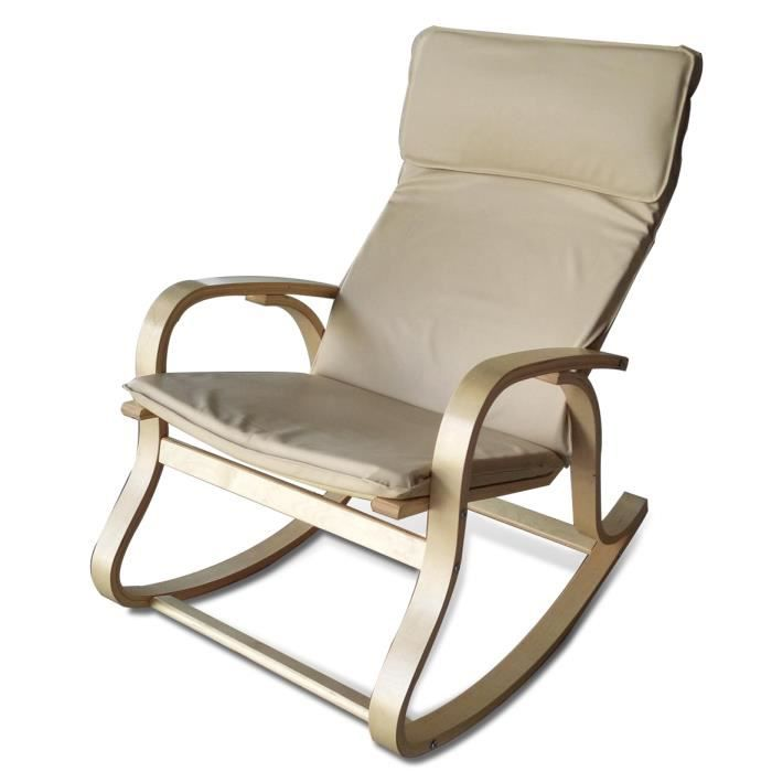 rocking chair simili cuir cr me achat vente chaise beige cdiscount. Black Bedroom Furniture Sets. Home Design Ideas
