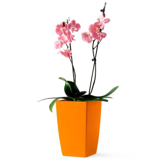 pot carr orange avec r serve d 39 eau 26 cm algarve achat vente jardini re pot fleur pot. Black Bedroom Furniture Sets. Home Design Ideas