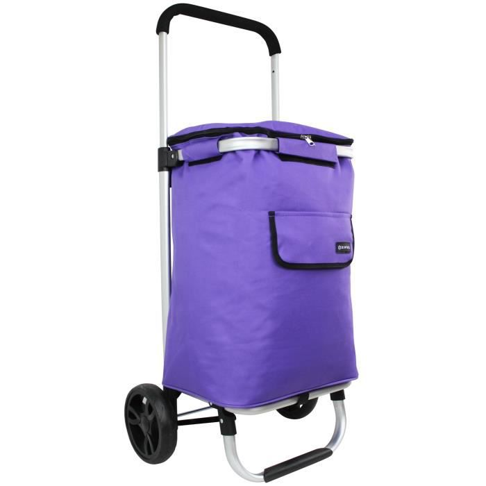 chariot de courses roulettes isotherme zifel lz570c violet achat vente poussette de marche. Black Bedroom Furniture Sets. Home Design Ideas