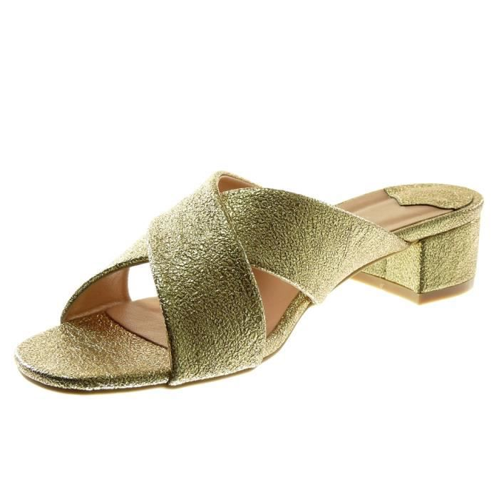 Angkorly Champagne on Talon Brillant 41 Cm Sandale Bloc 4 Slip Haut Chaussure Grainé Or T Xh1019 Mode Femme TIrT8