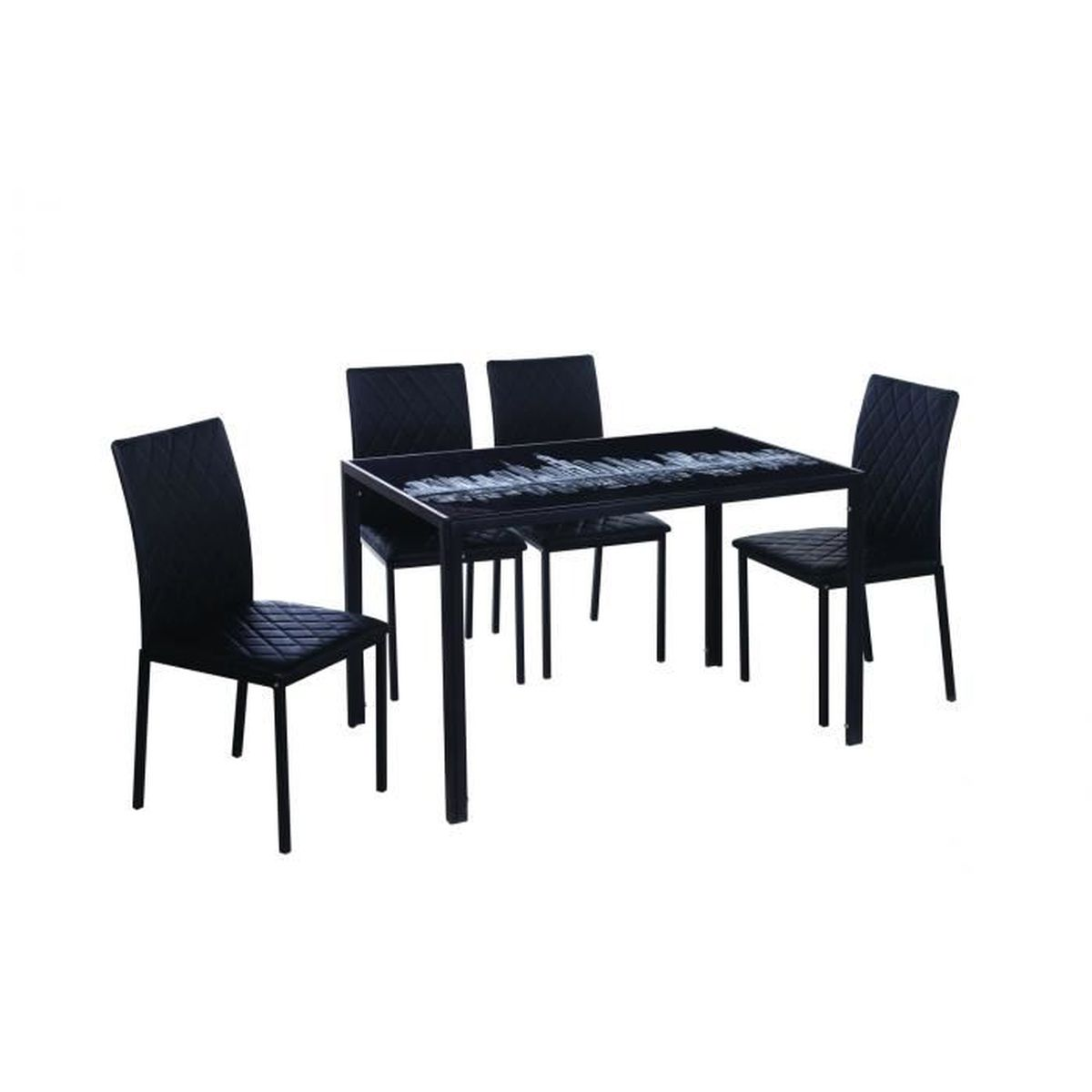 Table manger 4 chaises noir design achat vente for Table a manger noir