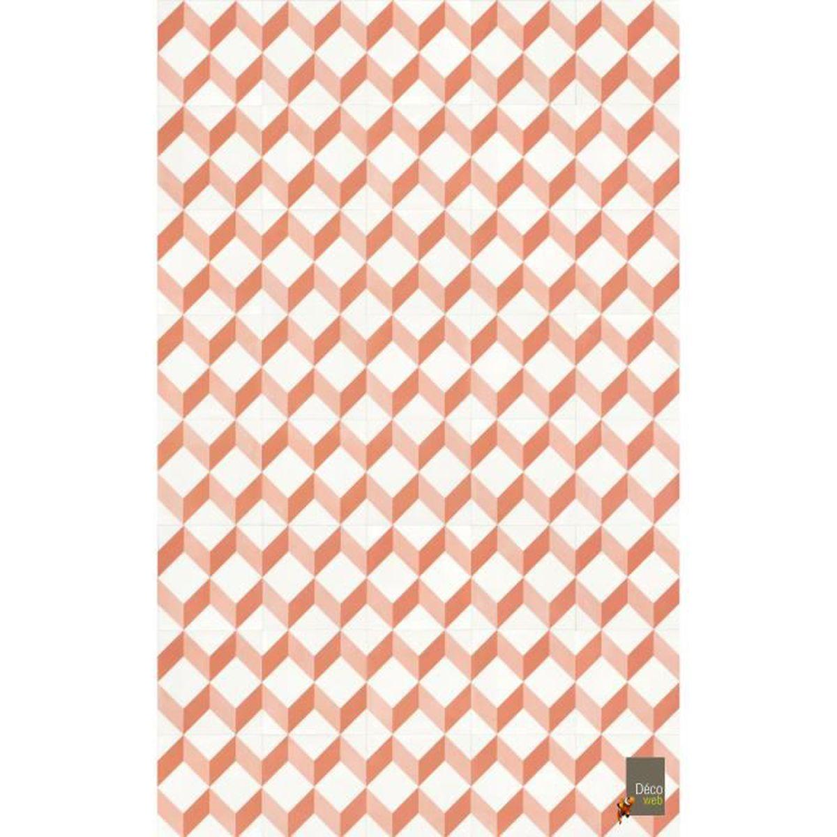 Tapis Effet Carreaux De Ciment tapis vinyle 100 x 160 cm - carreaux de ciment cube 3d rouge