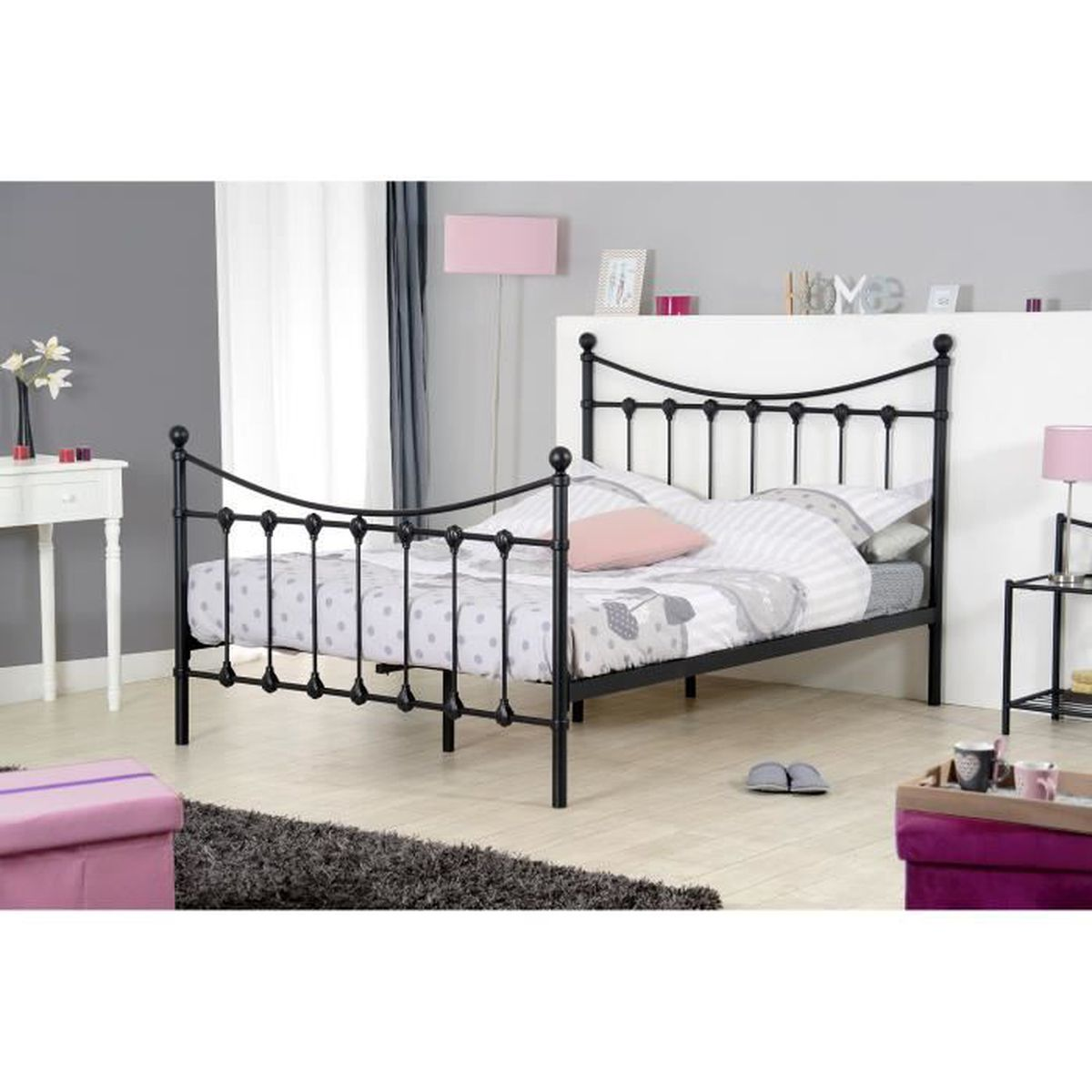 lit avec sommier 140 190 chevet achat vente lit avec. Black Bedroom Furniture Sets. Home Design Ideas