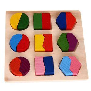 CASSE-TÊTE Bébé en bois d'apprentissage géométrie jouets éduc