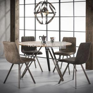 TABLE À MANGER SEULE Table à manger ronde couleur bois DAYTONA