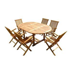 SALON DE JARDIN  Ensemble de jardin en teck huilé SENTAK 6 fauteuil