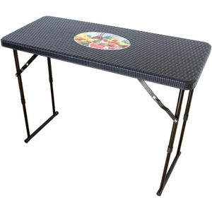Table pliante étroite réglable en hauteur aspect rotin ...
