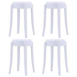 TABOURET DE BAR 4 pcs Tabourets empilables Blanc Plastique