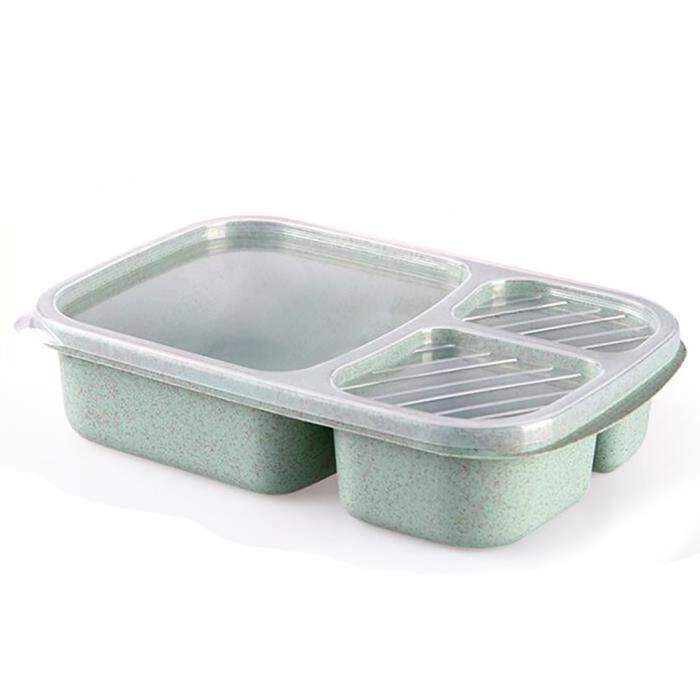 Boîte à lunch boîte à bento 3 compartiments divisés ustensiles de cuisine pour micro-ondes Vert