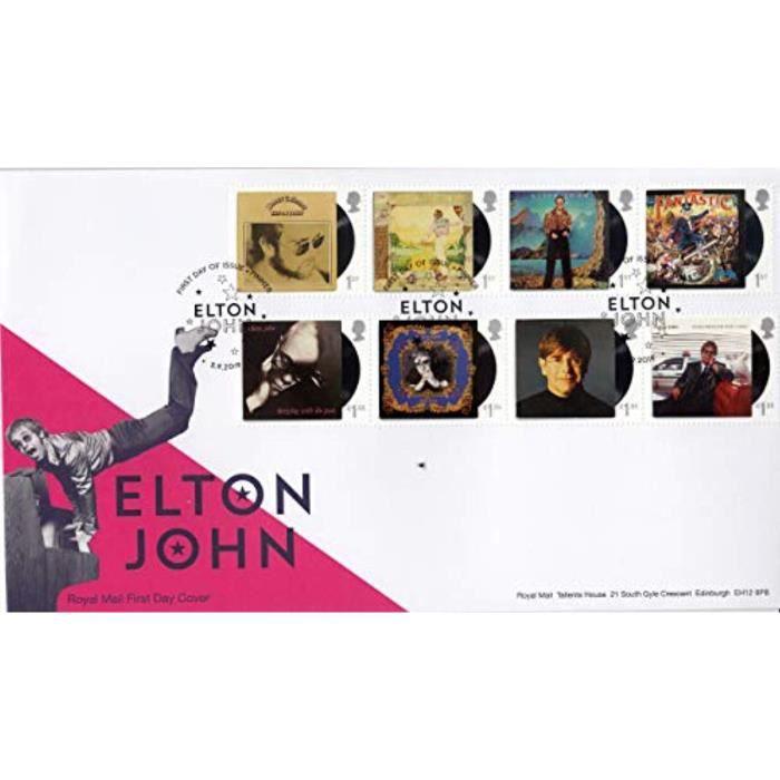 Kit Modelisme A Construire IFPW6 Elton John Album Covers Stamps Premier Jour émis par Cachet Royal Mail