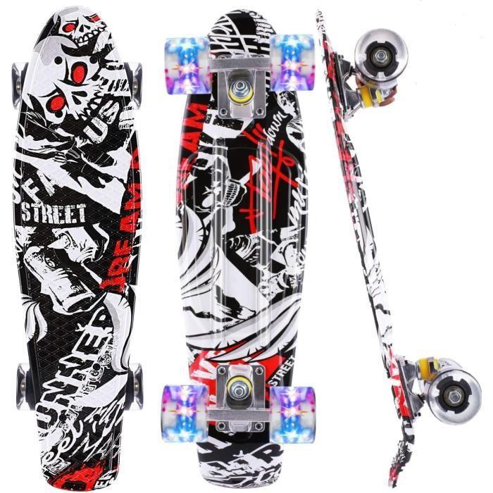 22'' Skateboard ABEC-7 portant PU roue avec roues LED Blanc&Noir