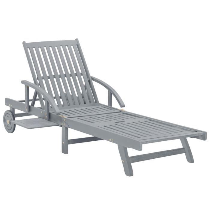 FAN Chaise longue de jardin Gris Bois d'acacia solide☺☻1