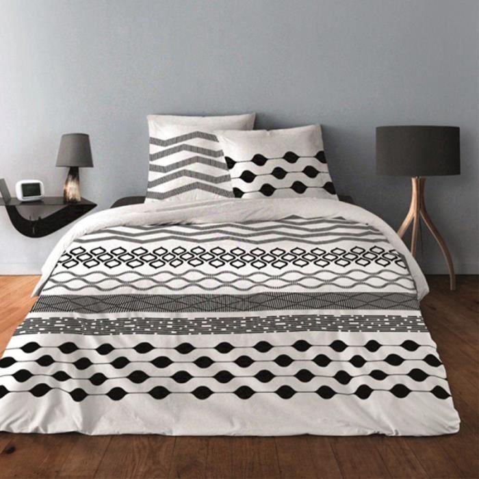 Parure de draps pour lit de 160 x 200 cm 4 PIECES GEAMETRIQUE NOIR Coton 57 fils supérieur