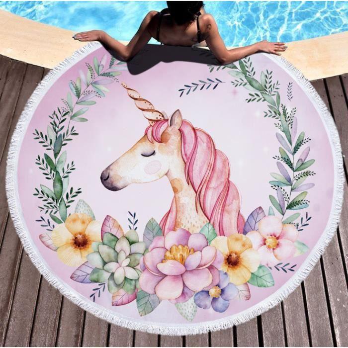 DoringIN Licorne ronde serviette de plage piscine lac nager bain de soleil été