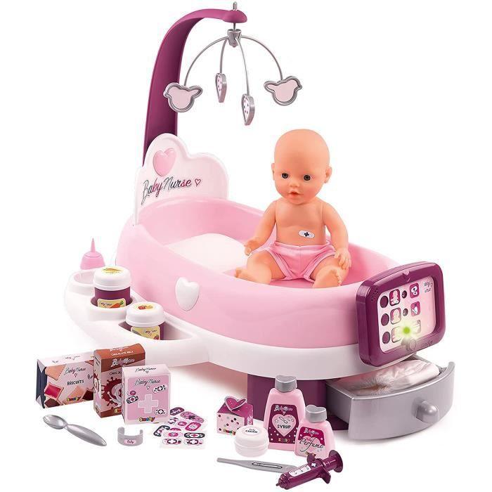 Baby Nurse Nursery Electronique-+ 1 Poupon Fonction Pipi-24 Accessoires Inclus, 220347, Rose