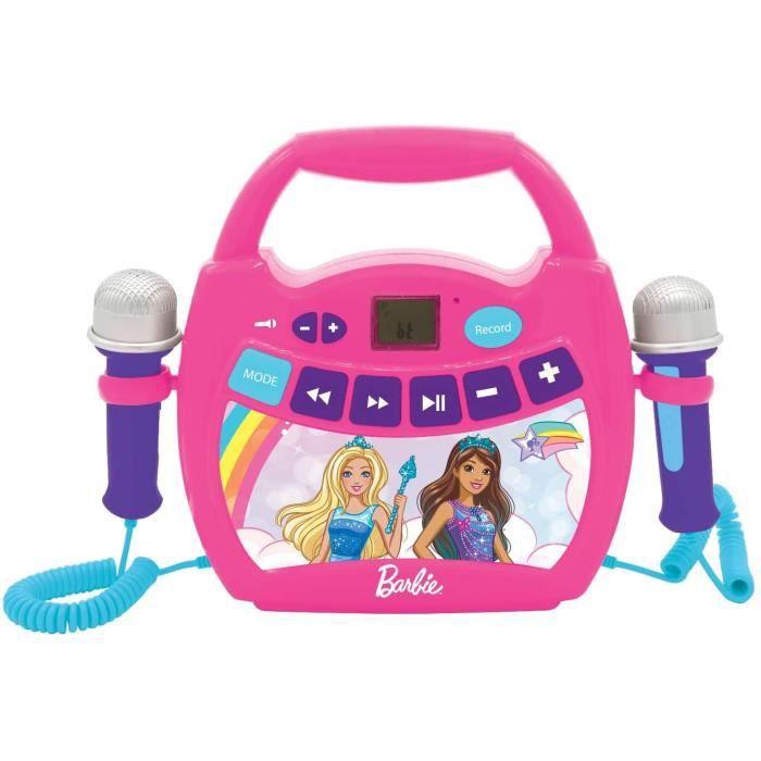 Lexibook- Barbie, Mon Premier Lecteur Musical karaoké avec micros, sans Fil, Fonctions Enregistrement et Changement de Voix, pour En