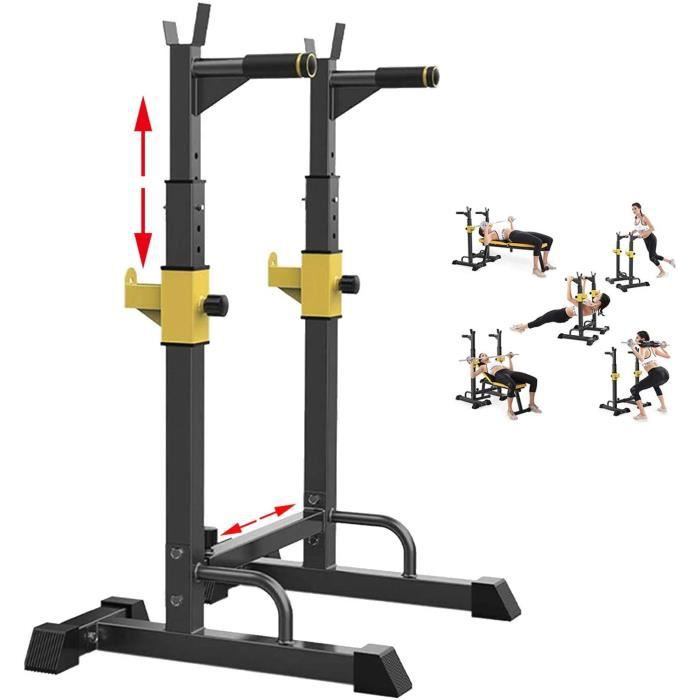 BANC DE MUSCULATION EEUK Rack Squat Musculation Traction, Rack Squat Multifonction,Rack Squat Dips,Hauteur R&eacuteglable Rac354