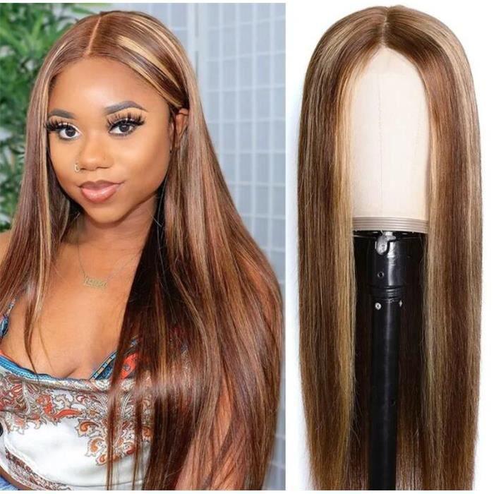 Perruque blonde longue 24 -Lace Wig et droite 412 # 100% densité