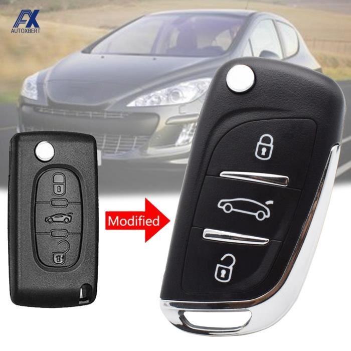 Coque clé,Coque pour clé télécommande à 3 boutons, pliable, pour voiture Peugeot 306, 407, 408, 607, et pour citroën C4 C2 (CE0536,