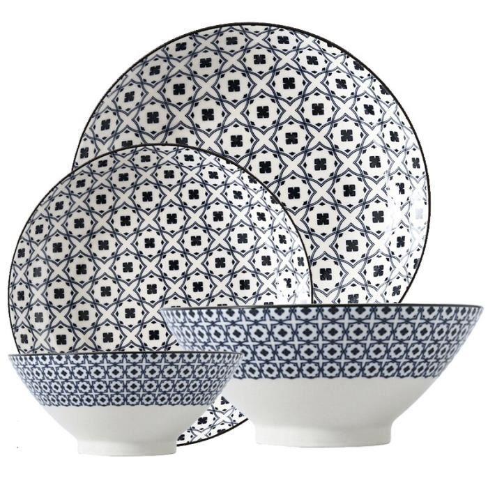 Assiette,Ensemble de 4 bols à chapeau en bambou, assiette en céramique, sous-glaçage, vaisselle en porcelaine de forme - Type 9
