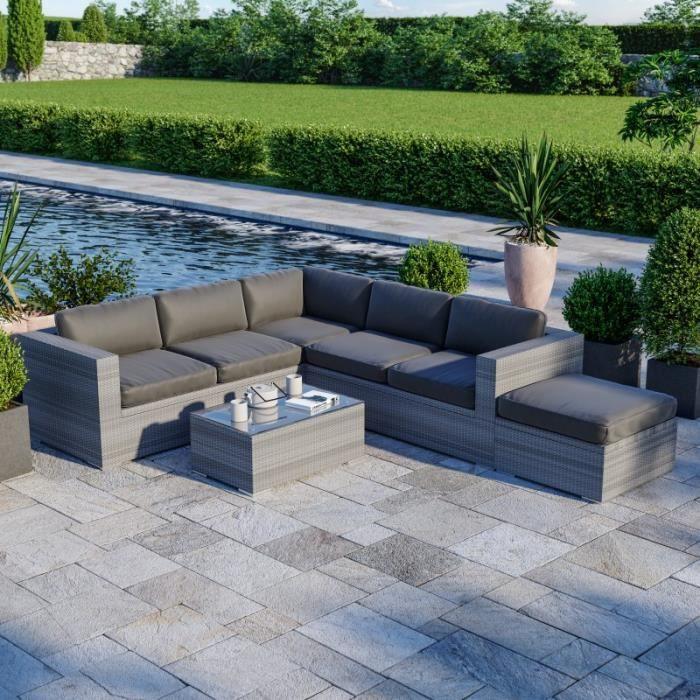Salon de jardin résine tressée d'angle fonctionnel avec coffre de rangement intégré - gris - FARENZA