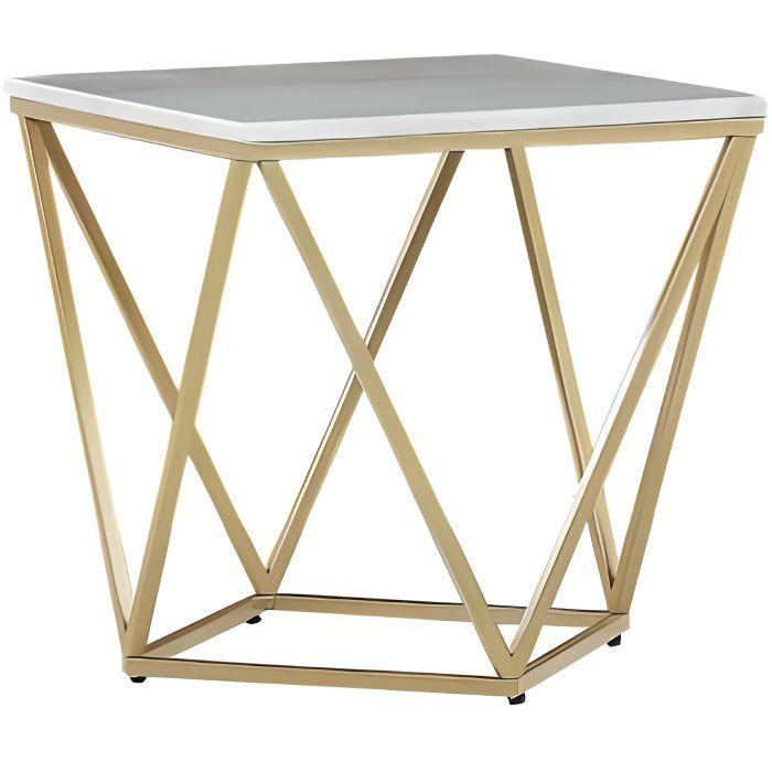 Table appoint carrée effet marbre blanc / pied or 50 x 50 cm MALIBU