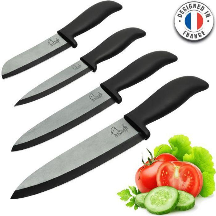 ChefsDeFrance - Set de 4 couteaux céramique - Édition Prestige Couteaux haut de gamme
