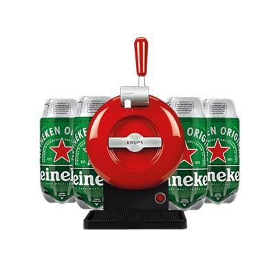 Les5CAVES - Tireuse à bière Starter Krups The SUB Classique Rouge - Compatible avec les Fûts 2L The SUB + 4 fûts Heineken Torp 2L