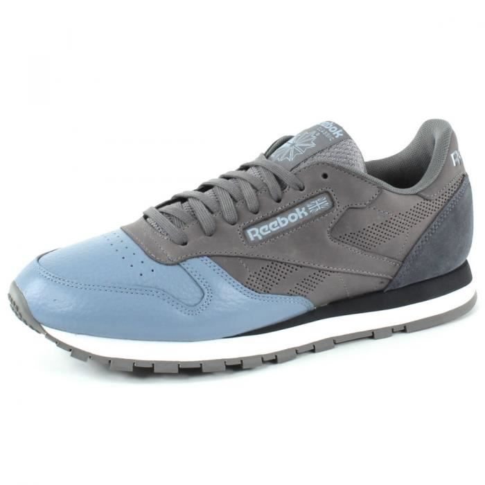REEBOK Baskets Classic Leather - Homme - Gris et Bleu