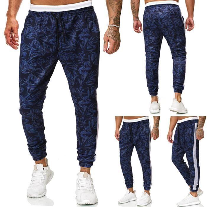 Pantalons de sport décontractés longs pour hommes Pantalons imprimés coupe ajustée Pantalons de survêtement de jogging Bleu